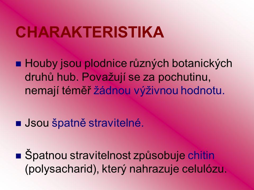 CHARAKTERISTIKA Houby jsou plodnice různých botanických druhů hub. Považují se za pochutinu, nemají téměř žádnou výživnou hodnotu.