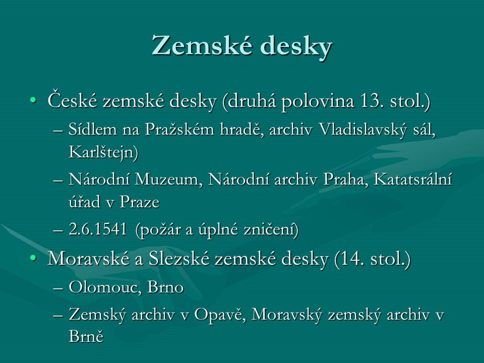Zemské desky České zemské desky (druhá polovina 13. stol.)