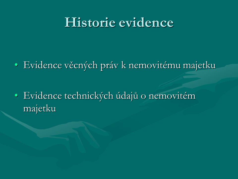 Historie evidence Evidence věcných práv k nemovitému majetku