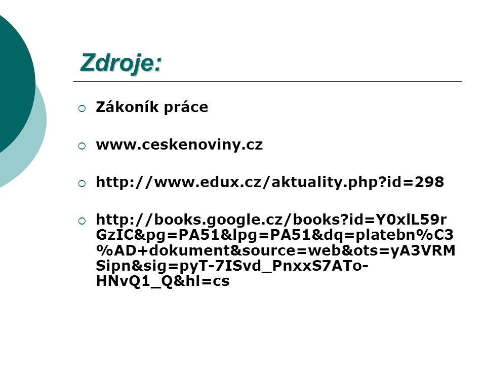 Zdroje: Zákoník práce www.ceskenoviny.cz