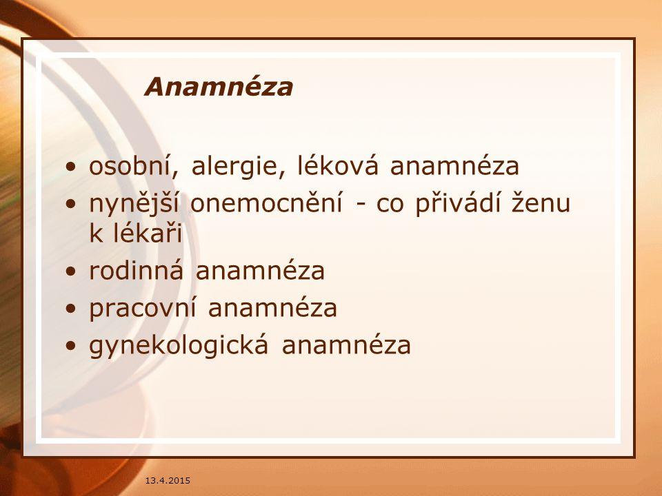 osobní, alergie, léková anamnéza