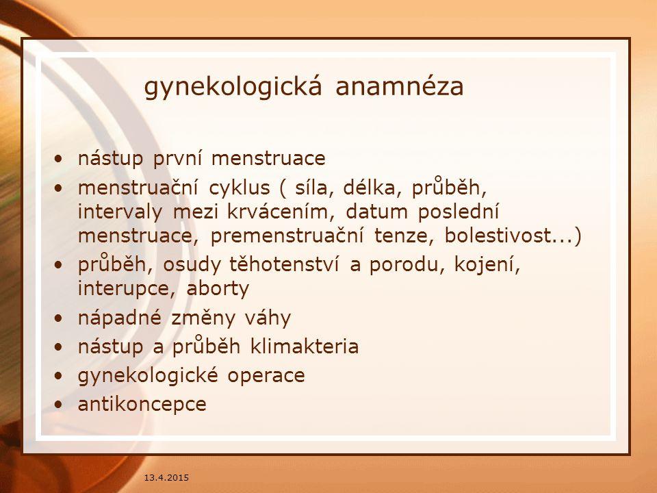 gynekologická anamnéza