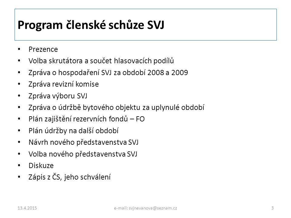Program členské schůze SVJ
