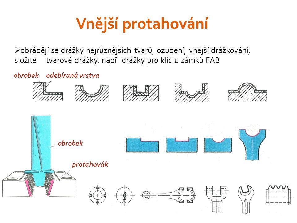 Vnější protahování obrábějí se drážky nejrůznějších tvarů, ozubení, vnější drážkování, složité tvarové drážky, např. drážky pro klíč u zámků FAB.