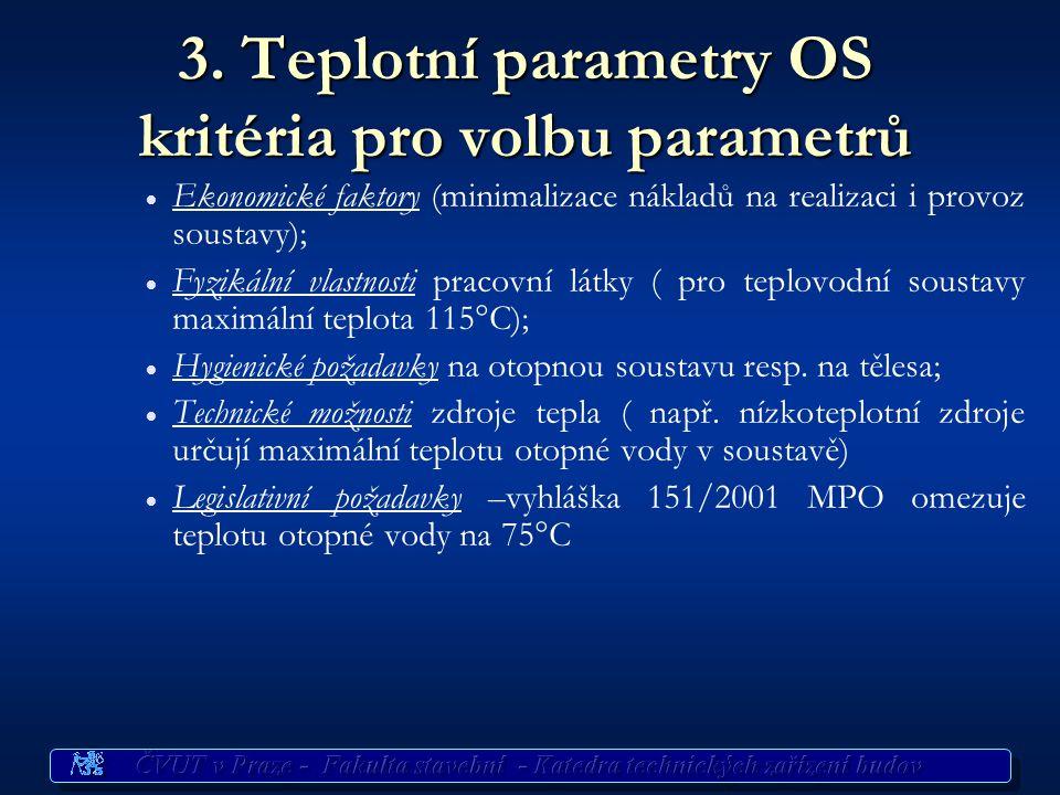 3. Teplotní parametry OS kritéria pro volbu parametrů