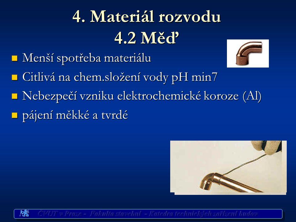 4. Materiál rozvodu 4.2 Měď Menší spotřeba materiálu