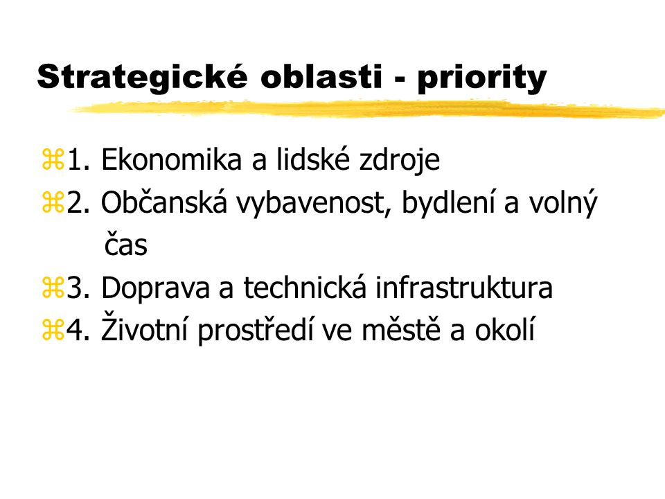 Strategické oblasti - priority