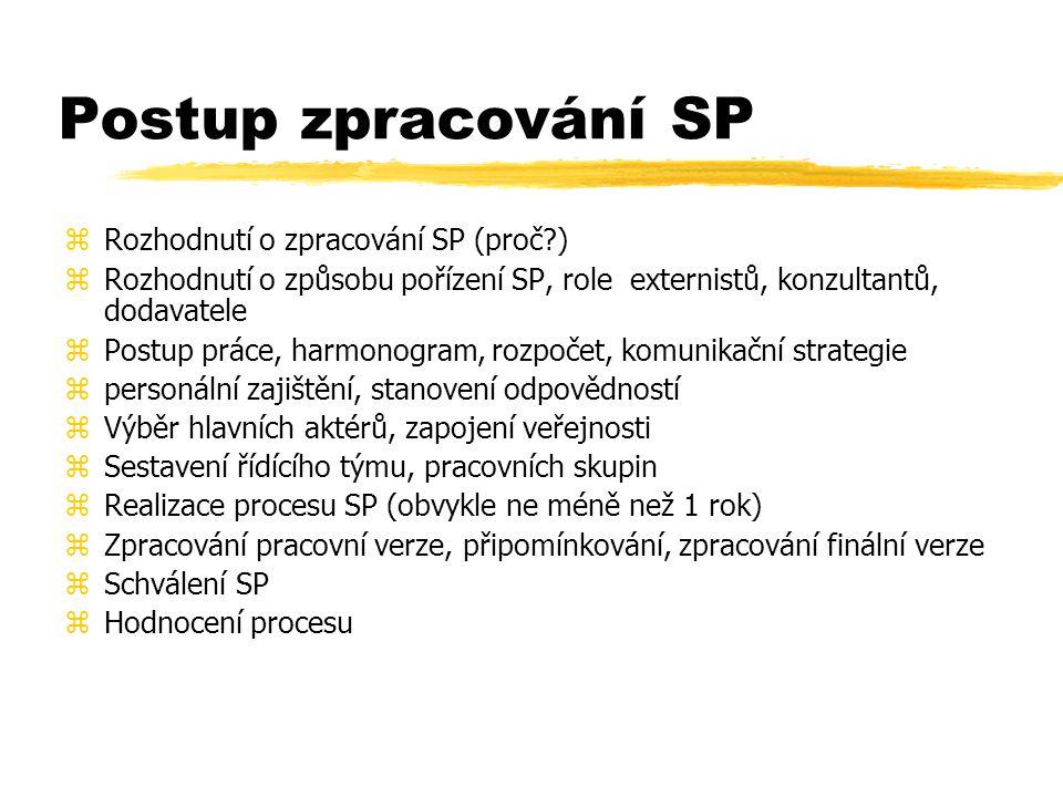 Postup zpracování SP Rozhodnutí o zpracování SP (proč )