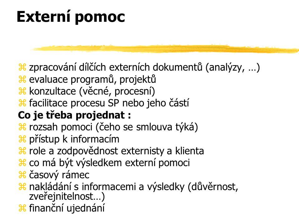 Externí pomoc zpracování dílčích externích dokumentů (analýzy, …)