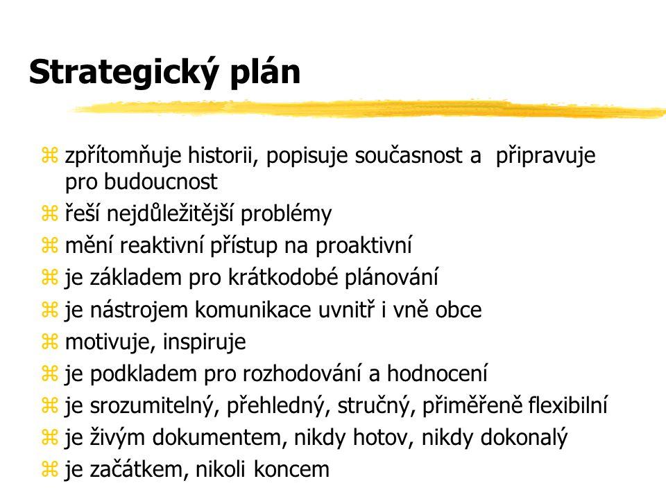 Strategický plán zpřítomňuje historii, popisuje současnost a připravuje pro budoucnost. řeší nejdůležitější problémy.