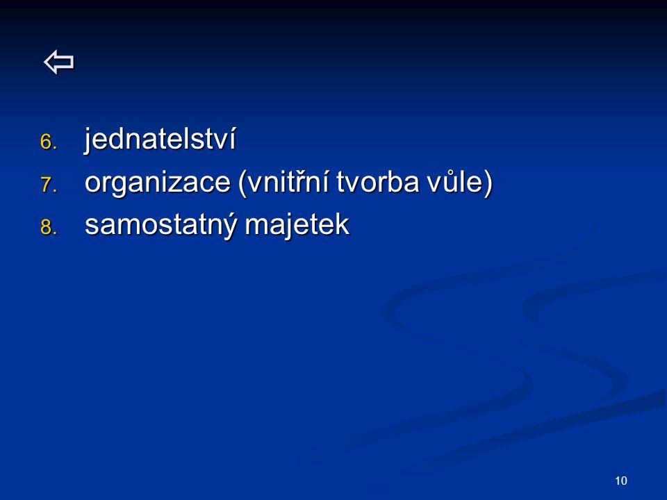  jednatelství organizace (vnitřní tvorba vůle) samostatný majetek