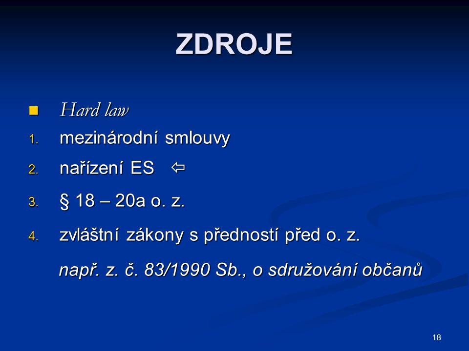 ZDROJE Hard law mezinárodní smlouvy nařízení ES  § 18 – 20a o. z.