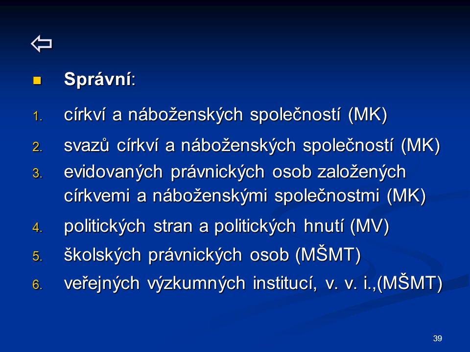  Správní: církví a náboženských společností (MK)