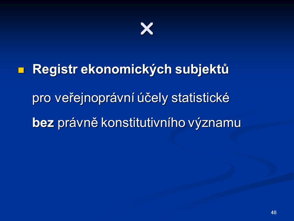  Registr ekonomických subjektů pro veřejnoprávní účely statistické