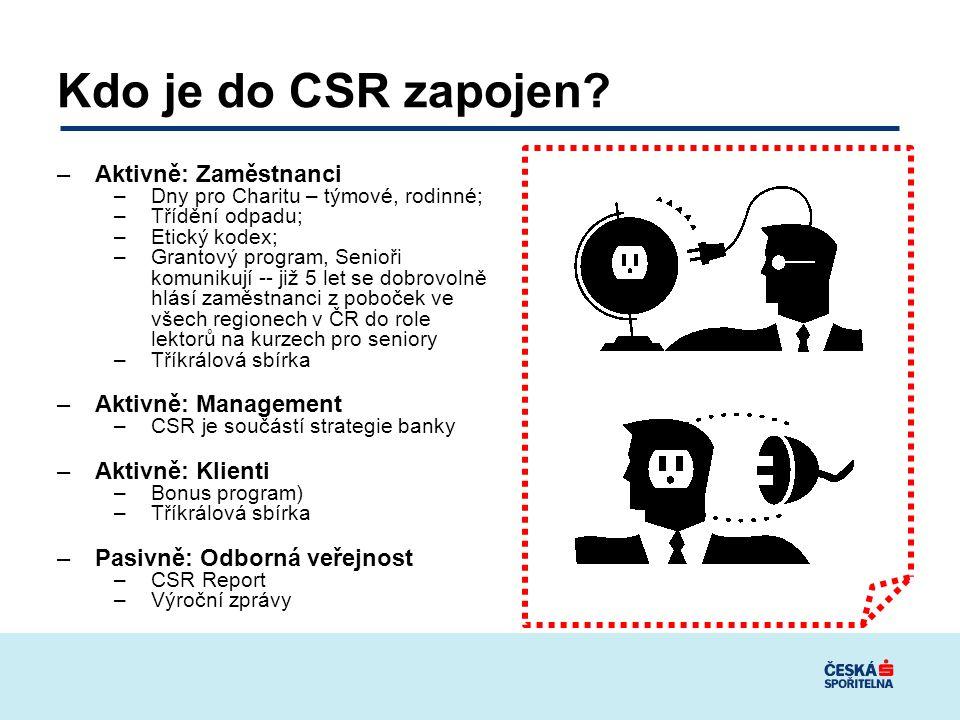 Kdo je do CSR zapojen Aktivně: Zaměstnanci Aktivně: Management