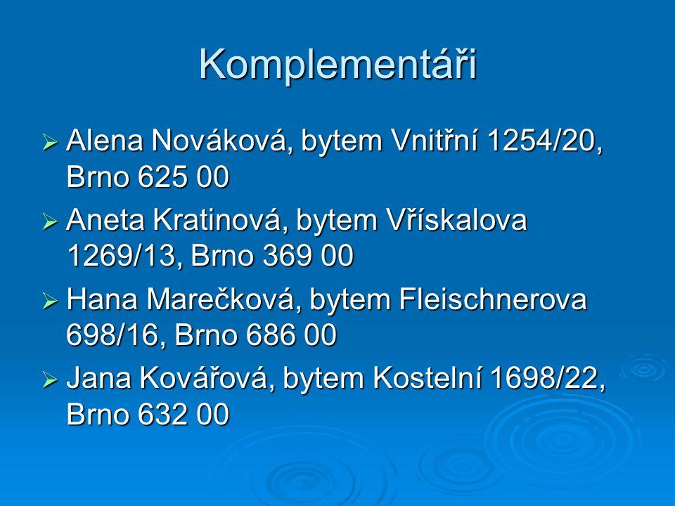 Komplementáři Alena Nováková, bytem Vnitřní 1254/20, Brno 625 00