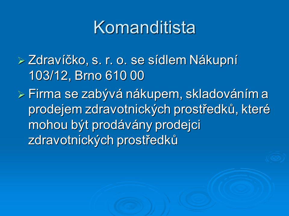 Komanditista Zdravíčko, s. r. o. se sídlem Nákupní 103/12, Brno 610 00