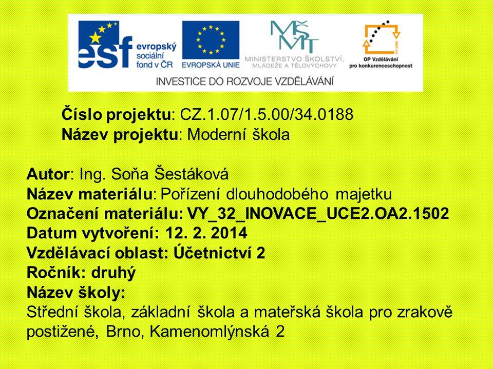 Číslo projektu: CZ.1.07/1.5.00/34.0188 Název projektu: Moderní škola. Autor: Ing. Soňa Šestáková. Název materiálu: Pořízení dlouhodobého majetku.