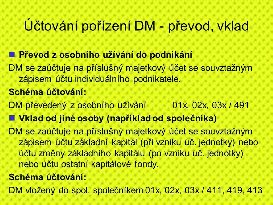 Účtování pořízení DM - převod, vklad