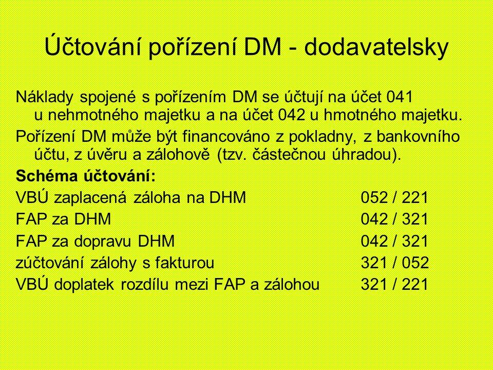 Účtování pořízení DM - dodavatelsky