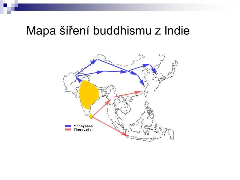 Mapa šíření buddhismu z Indie
