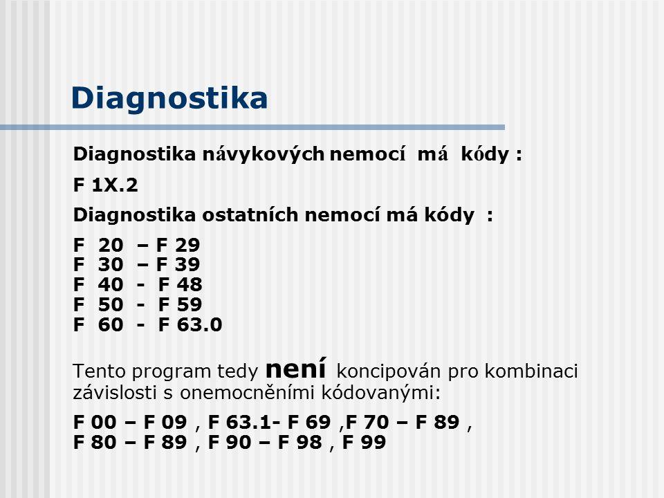 Diagnostika Diagnostika návykových nemocí má kódy : F 1X.2