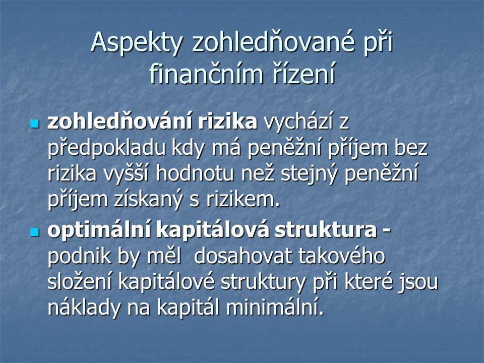 Aspekty zohledňované při finančním řízení