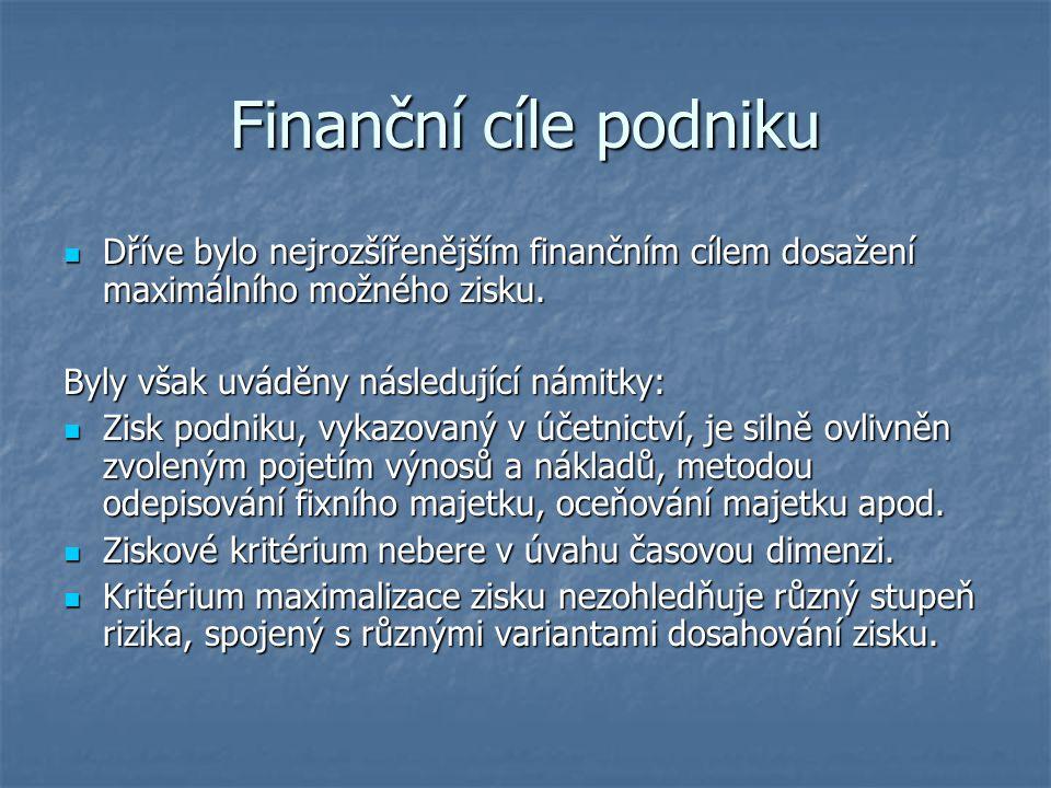 Finanční cíle podniku Dříve bylo nejrozšířenějším finančním cílem dosažení maximálního možného zisku.