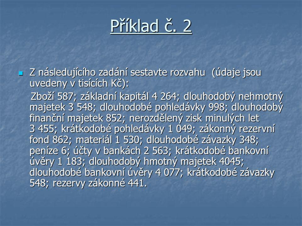 Příklad č. 2 Z následujícího zadání sestavte rozvahu (údaje jsou uvedeny v tisících Kč):
