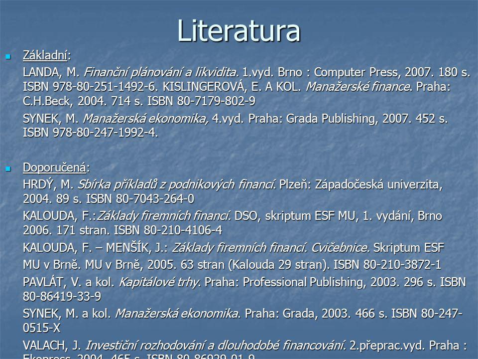 Literatura Základní: