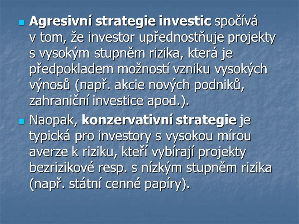 Agresivní strategie investic spočívá v tom, že investor upřednostňuje projekty s vysokým stupněm rizika, která je předpokladem možností vzniku vysokých výnosů (např. akcie nových podniků, zahraniční investice apod.).