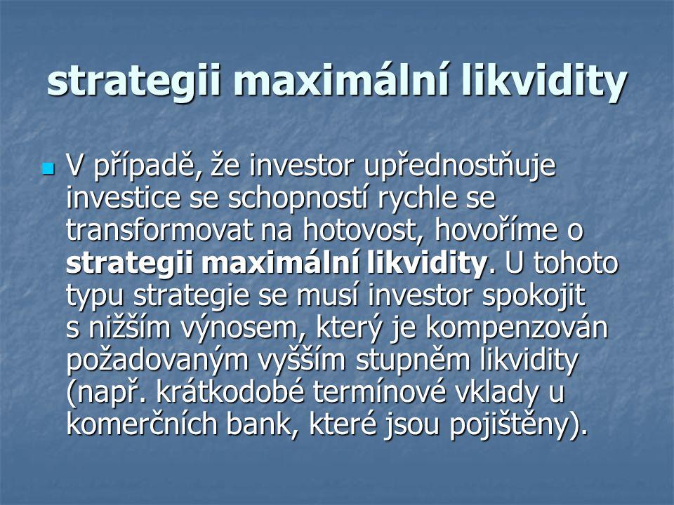 strategii maximální likvidity