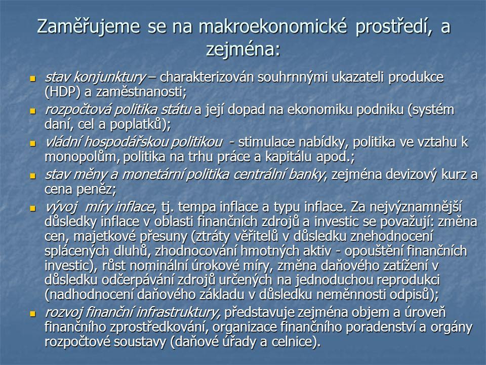 Zaměřujeme se na makroekonomické prostředí, a zejména: