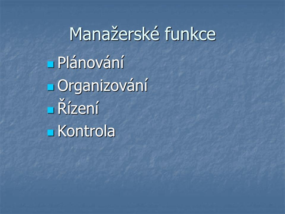 Manažerské funkce Plánování Organizování Řízení Kontrola