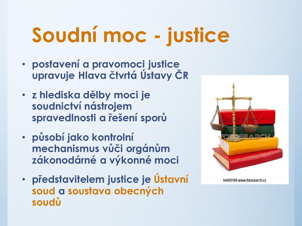 Soudní moc - justice postavení a pravomoci justice upravuje Hlava čtvrtá Ústavy ČR.