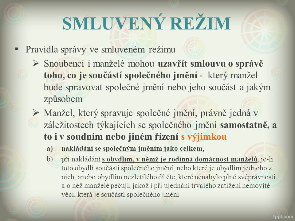 SMLUVENÝ REŽIM Pravidla správy ve smluveném režimu