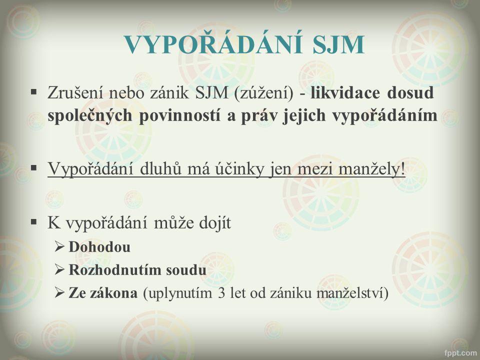 VYPOŘÁDÁNÍ SJM Zrušení nebo zánik SJM (zúžení) - likvidace dosud společných povinností a práv jejich vypořádáním.