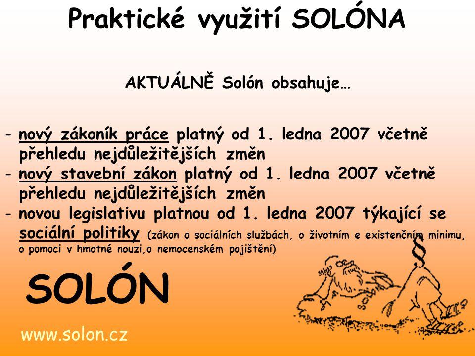 Praktické využití SOLÓNA AKTUÁLNĚ Solón obsahuje…