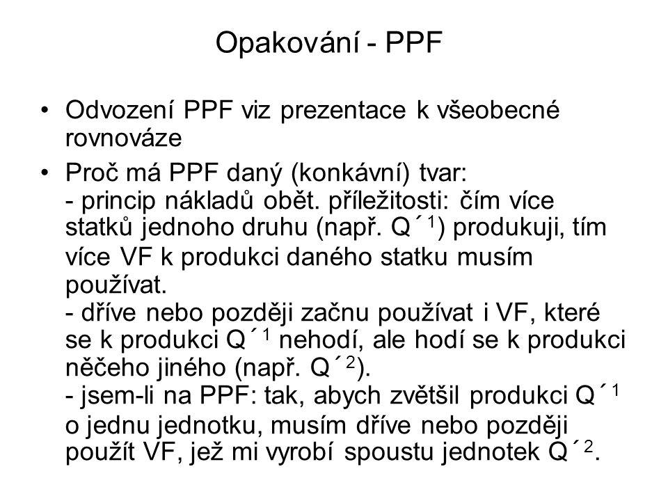 Opakování - PPF Odvození PPF viz prezentace k všeobecné rovnováze