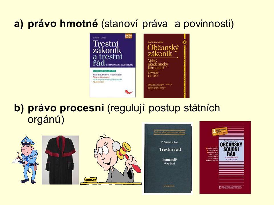 právo hmotné (stanoví práva a povinnosti)