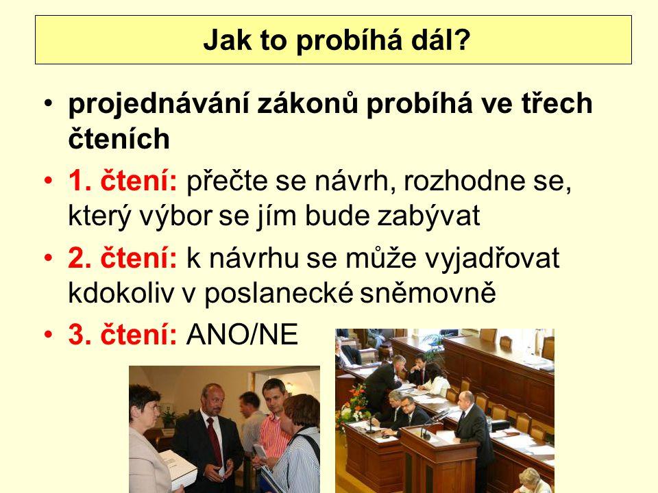 Jak to probíhá dál projednávání zákonů probíhá ve třech čteních. 1. čtení: přečte se návrh, rozhodne se, který výbor se jím bude zabývat.