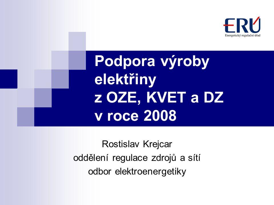 Podpora výroby elektřiny z OZE, KVET a DZ v roce 2008
