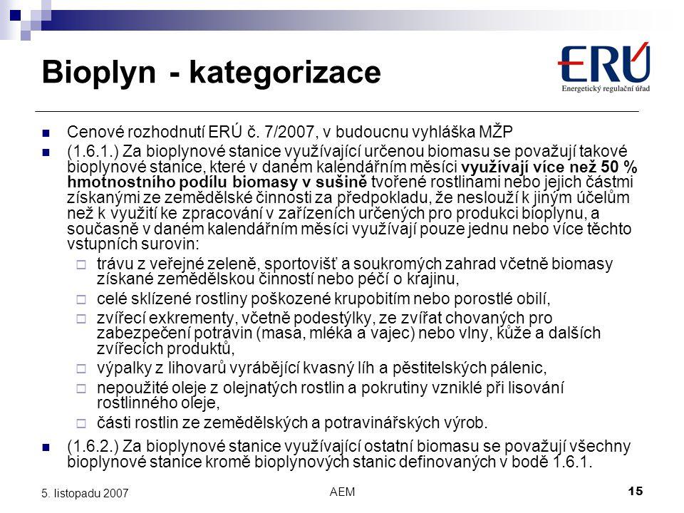 Bioplyn - kategorizace