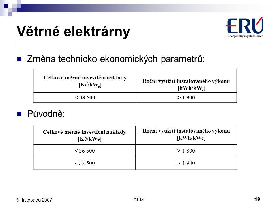Větrné elektrárny Změna technicko ekonomických parametrů: Původně: