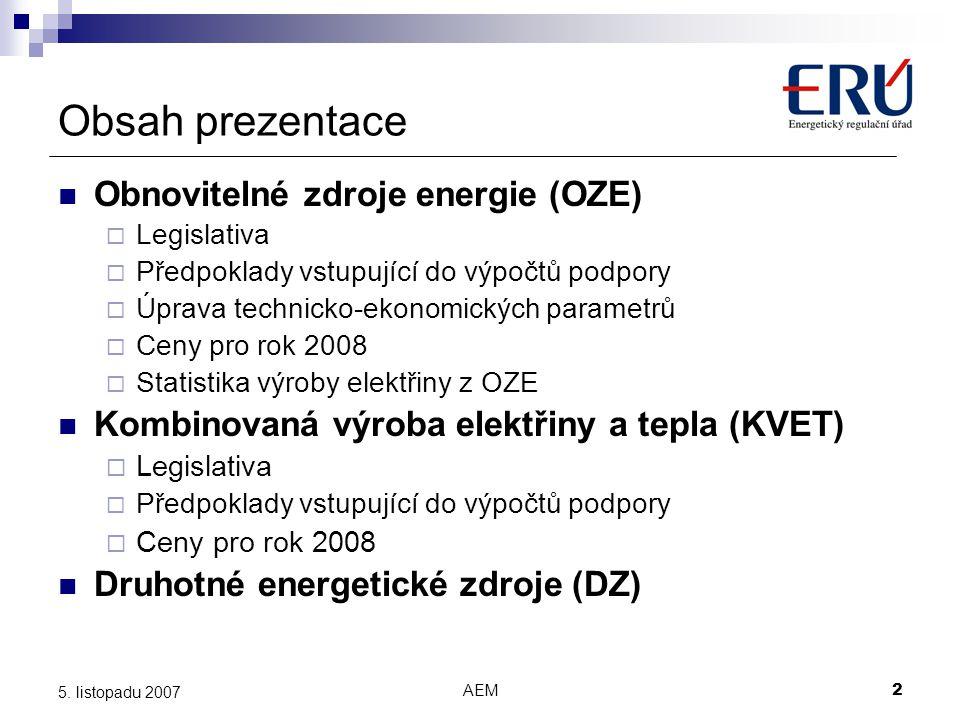 Obsah prezentace Obnovitelné zdroje energie (OZE)