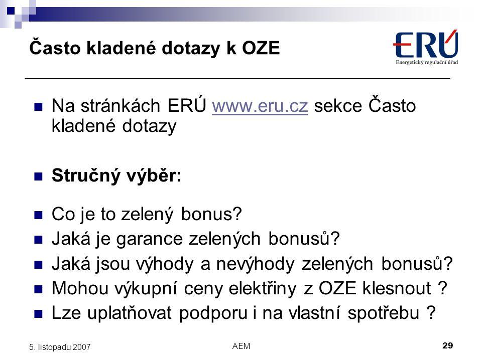 Často kladené dotazy k OZE