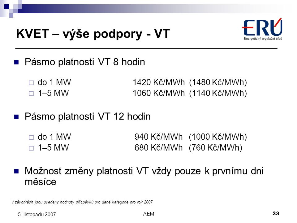 KVET – výše podpory - VT Pásmo platnosti VT 8 hodin