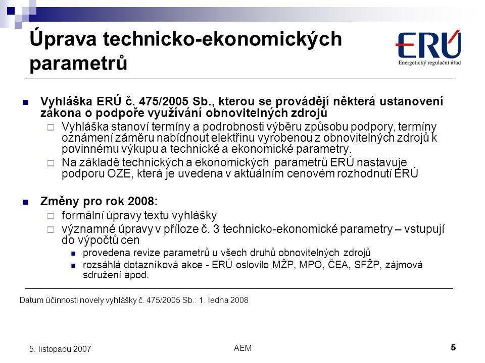 Úprava technicko-ekonomických parametrů