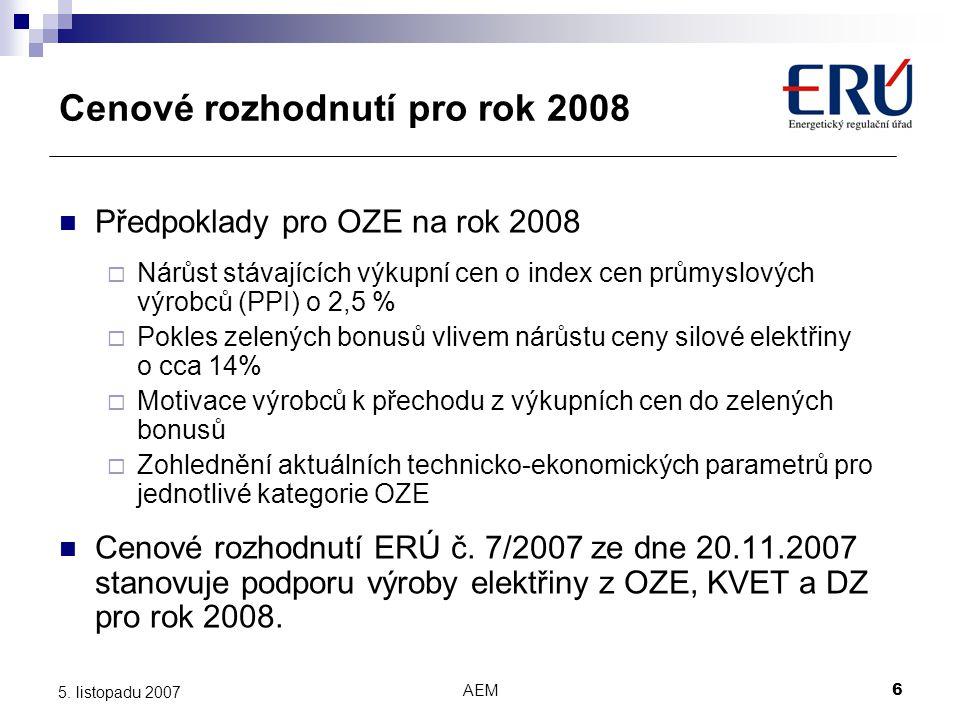 Cenové rozhodnutí pro rok 2008