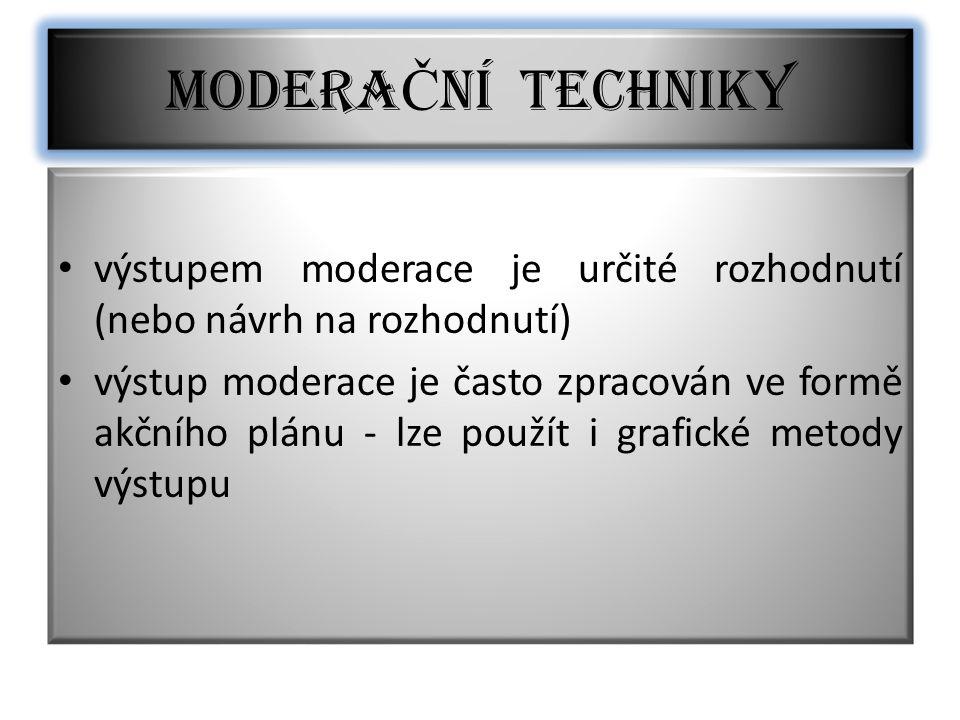 MODERAČNÍ TECHNIKY výstupem moderace je určité rozhodnutí (nebo návrh na rozhodnutí)